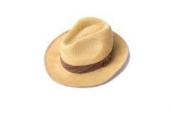 Un aislante tejido del sombrero de la moda en el fondo blanco Fotografía de archivo