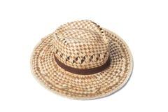 Un aislante tejido del sombrero de la moda en el fondo blanco Imagenes de archivo