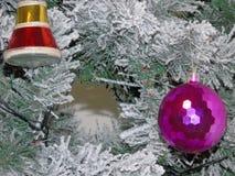 Un albero di Natale attillato verde con neve immagine stock