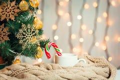 Un albero di Natale ha decorato i fiocchi di neve e una ghirlanda, la tazza di caffè, caramella con la sciarpa tricottata sui pre Fotografia Stock