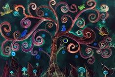Un albero folle del turchese immaginario contro un cielo notturno illustrazione vettoriale