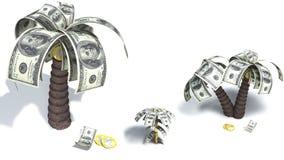 Un albero sradicato con i dollari Immagine Stock Libera da Diritti
