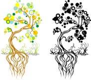 Un albero stilizzato dipinto a mano con gli acquerelli Fotografia Stock Libera da Diritti