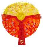 Un albero-Sun fantastico di fantasia Immagini Stock Libere da Diritti