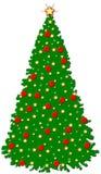 Un albero verde di Critmas - decorazioni in giallo & in rosso Fotografie Stock Libere da Diritti