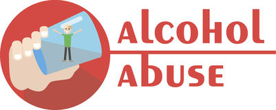 Un alcoolique se noie dans un verre de vodka Illustration tirée par la main Image stock
