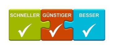 Un alemán más rápido, más barato y mejor el mostrar de 3 botones del rompecabezas libre illustration