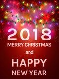 Un'aletta di filatoio felice da 2018 nuovi anni Il Babbo Natale su una slitta Fotografie Stock