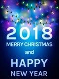 Un'aletta di filatoio felice da 2018 nuovi anni Il Babbo Natale su una slitta Immagini Stock Libere da Diritti