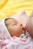 Un allattamento al seno della neonata del bambino immagini stock