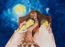 Un'allegoria della ripartizione del matrimonio caricature immagini stock