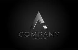 un alphabet argenté blanc noir 3d d'icône de conception de logo de lettre Image stock