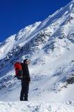 Un alpinista maschio nell'inverno Immagine Stock Libera da Diritti