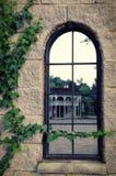 Un'alta finestra dello specchio in una vecchia casa in cui un'altra costruzione è riflessa Le pareti sono coperte di edera Fotografia Stock Libera da Diritti