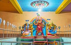 Un altare di tre dee in tempio di Matale Fotografia Stock