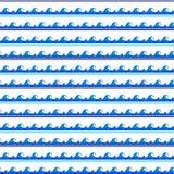 Un'altra striscia del modello blu della cresta dell'onda dell'acquerello del mare senza cuciture Immagini Stock
