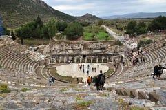 Un'altra vista dello stadio enorme alle rovine di Ephesus Fotografia Stock