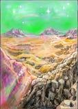 Un altro mondo, montagna, cielo, stella illustrazione di stock