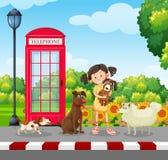 Un amante del perro en el parque ilustración del vector