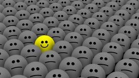Un amarillo entre muchos smiley stock de ilustración