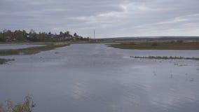 Un'ampia aria della piccola città del villaggio ed i fiumi puliti che attraversano foresta verde densa stock footage