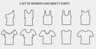 Un'ampia raccolta del ` s degli uomini e delle magliette del ` s delle donne illustrazione di stock