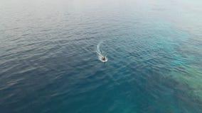 Un'ampia vista della barca sull'oceano archivi video