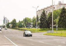 Un ampio viale in nuovo Bourgas, Bulgaria Fotografia Stock Libera da Diritti
