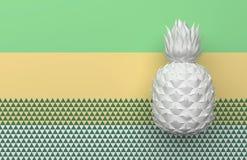 Un ananas blanc d'isolement sur un fond avec une rayure pâle et des triangles vert, jaunes et blanches Fruit exotique tropical av illustration de vecteur