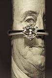 Un anello di diamante di carati Fotografia Stock Libera da Diritti