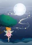 Un angelo di notte che galleggia nel mezzo della notte Immagini Stock