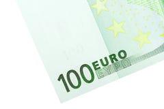 Un angolo della banconota dell'euro 100 Fotografia Stock