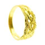 un anillo de oro aislado en blanco Imágenes de archivo libres de regalías