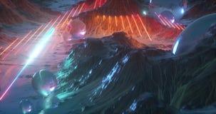Un'animazione di una terra straniera di fantascienza piena di colore, delle montagne e dei pianeti illustrazione vettoriale