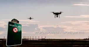 Un'animazione di un volo del fuco vicino ad un aeroporto con un nessun segno del fuco e di un testo per i nuovi regolamenti canad illustrazione di stock