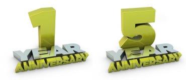 un anniversario di 1 e 5 anni Immagini Stock Libere da Diritti