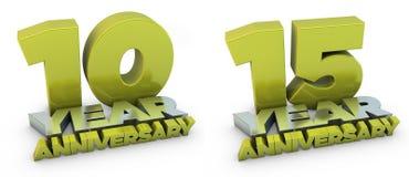un anniversario di 10 e 15 anni Immagini Stock Libere da Diritti