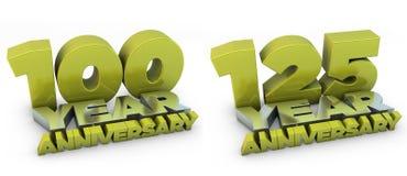 un anniversario di 100 e 125 anni Immagine Stock Libera da Diritti