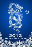 Un anno dei 2012 cinesi dei fiocchi di neve del drago Fotografia Stock Libera da Diritti