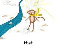 Un anno nella vita di una scimmia Lulu Fotografie Stock
