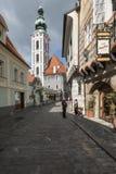 Un aperçu de la petite ville de la République Tchèque l'Europe de krumlov cesky Photo libre de droits