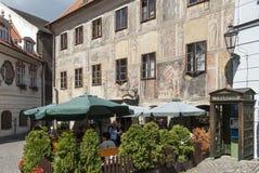 Un aperçu de la petite ville de la République Tchèque l'Europe de krumlov cesky Images stock