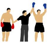 Un arbitre donne à la victoire un boxeur Image stock