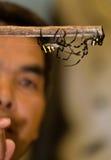 Un arbitre observant le combat de deux araignées Photographie stock