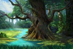 Un arbre antique dans la forêt par la rive Images libres de droits