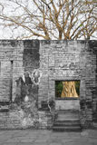 Un arbre de mort derrière un mur mort, Sukhothai, Thaïlande Photos libres de droits