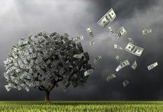 Un arbre fait de cent billets de banque du dollar sur un fond de ciel foncé illustration de vecteur
