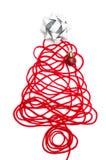 Un arbre fait en fil et ruban rouges, boule sur le fond blanc Photos libres de droits