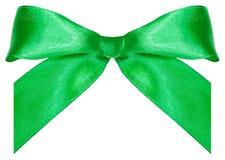 Un arco-nodo verde del raso isolato su bianco Fotografia Stock