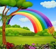 Un arcobaleno del colorfull con la vista del giardino illustrazione vettoriale